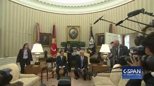 Oval Office Decor By President News Press Charge In Oval Office And Knock Over A Lamp In Front Of
