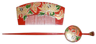 japanese hair ornaments japanese hair accessories wooden comb and hair pin 1950 s the