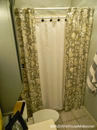 mcentire house makeover making 2 shower curtain panels out of 1