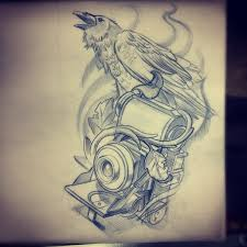 flames crow and camera tattoos sketch photo 1 real photo