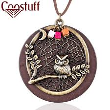 long necklace pendant images 2018 vintage wood women jewelry owl long necklaces necklaces jpg
