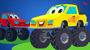 monster trucks videos for kids little red car rhymes monster truck songs rig a jig jig