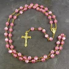 pink rosary resin rosary 56cm length gold chain