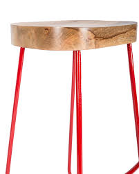 metal frame ernest bar stool with solid wood seat industrial style