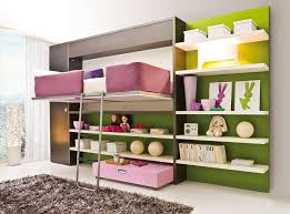 purple bed with white wooden shelves and black storage on green