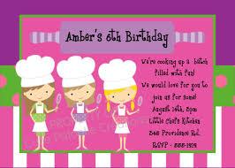 cooking birthday invitation printable or printed chef