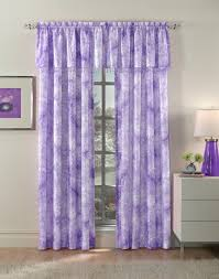 Light Purple Walls by Patterned Purple Fabric Curtains With Silver Steel Rod On White