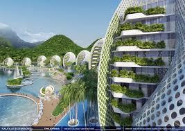 building concept undersea restaurants tree towers and hanging skyscrapers the top
