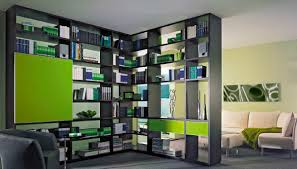 modern bookcase partition for room divider black wood shape myohomes