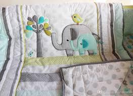 Crib Bedding Set For Boys Baby Bedding Set Comfortable Embroidery 3d Elephant Bird Baby Crib