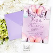 purple butterfly baby shower invitation purple faux glitter boho