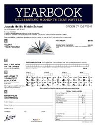 purchase yearbooks high school yearbook order form joseph melillo middle school