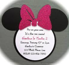 Minnie Mouse Invitation Card Handmade Invitations Pink Glitter Bow Inspired Minnie