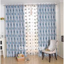 Long White Curtains White And Blue Apple Fruit Designer Modern Long Length Curtains