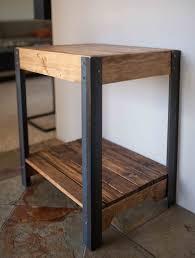Pallet Wood Bookshelf Pallet Wood Side Table With Metal Legs And Lower Shelf Jonny U0027s