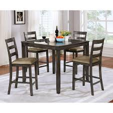 wood counter height table 5 pc gray wood counter height dining table set