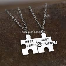best friends puzzle necklace images 2pcs best friend necklace pendant handstamped friendship half a jpg