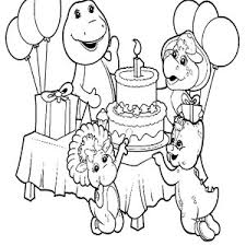 barney walking rain umbrella coloring pages