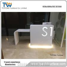 White Salon Reception Desk Artificial Marble Stone White Led Salon Reception Desk Tops Design
