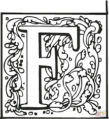 letter f with ornament coloring page free printable coloring pages