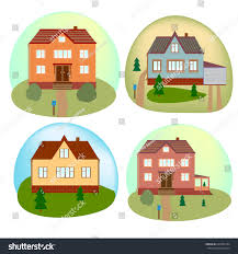 beautiful house set beautiful cottage houses stock vector