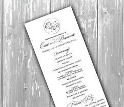 flat wedding programs wedding order of service single sided flat program thick style