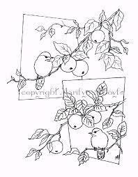 coloring page chickadees and apples digital download for older