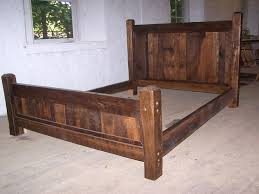 Bed Frames Wooden Buy Crafted Reclaimed Antique Oak Wood Size Rustic Bed