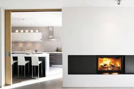 wood burning fireplace contemporary closed hearth built in