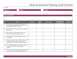work environment planning audit checklist format environment audit