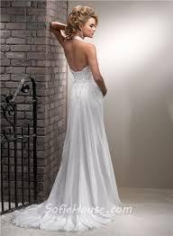 slim a line halter corset back chiffon beach wedding dress with