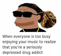 Depressed Frog Meme - 25 best memes about pepe the frog music and rap pepe the