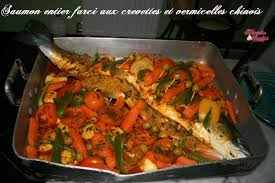 anaqamaghribia cuisine marocaine saumon entier farci aux vermicelles chinois et crevettes