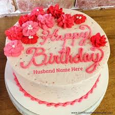 write name on beautiful 3d flower birthday cake for husband