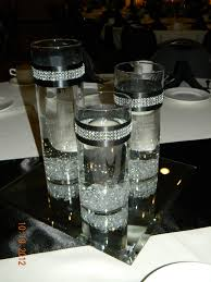 Bling Wrap For Vases Set Of Cylinder Vases With Diamante Bands And Placed On A Mirror
