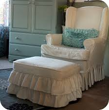 Chair And Ottoman Slipcover Sets Bedroom Pretty White Flower Pattern Of Cute Wing Chair Recliner
