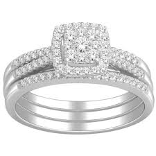 wedding ring trio sets 1 carat trio wedding ring set for in white gold jeenjewels