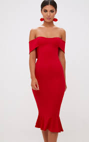 midi dress bardot frill hem midi dress dresses prettylittlething usa