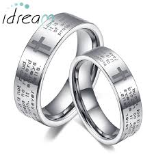 wedding rings cross images Flat white tungsten wedding bands set holy bible and cross jpg