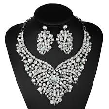 necklace with earrings set images Crystal bride jewelry sets wedding necklace earrings set rhinestones jpg