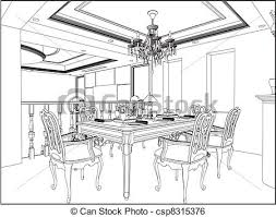 home design decorative drawing dining room stock vector outline