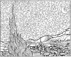 van gogh starry night master pieces coloring pages for adults