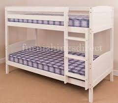 CONTEMPORARY DESIGN CLASSIC WHITE BUNK BED SPLITS INTO  SINGLE - White bunk bed with mattress