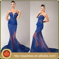 htj2 new fashion royal blue color woman party gowns sheer