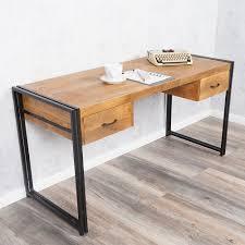 Design Schreibtisch Schreibtisch Durar Mango Rough Massiv Industrial Design 150cm