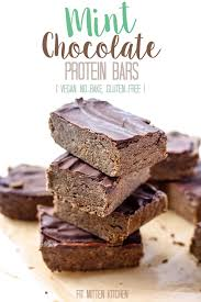 mint chocolate protein bars vegan no bake gluten free u2022 fit