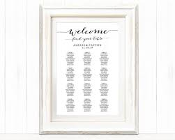 Wedding Signs Template Welcome Wedding Seating Chart Template In Four Sizes Wedding Sign