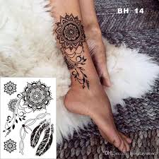 bh 14 pretty black elegant henna temporary tattoo for foot with