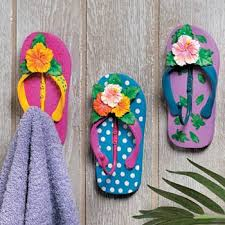 flip flop towel flip flop wall hooks robe towel rack set 3