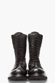 rick owens black textured leather combat boot in black for men lyst